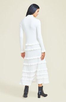 <ul><li>Long sleeve midi length knit dress with mock neck and ruffle details</li><li>Designed for a slim fit</li><li>60% Wool, 40% Rayon</li><li>Pullover</li><li>Dry clean</li><li>Imported</li></ul>