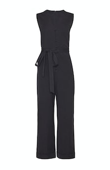 <ul><li>Stretch cotton cropped, wide leg jumpsuit with button detailing and self belt</li><li>Fitted at waist</li><li>Concealed zip fastening at center back</li><li>53% Cotton, 41% Viscose, 6% Elastane</li><li>Dry clean</li><li>Made in USA</li></ul>