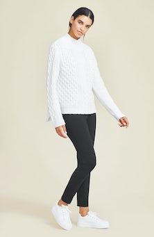 <ul><li>Long sleeve cable knit turtleneck sweater with side splits</li><li>Pullover</li><li>40% Wool, 30% Viscose, 20% Nylon, 10% Cashmere</li><li>Dry clean</li><li>Imported</li></ul>
