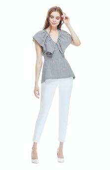 <ul><li>Checked seersucker top with ruffle neckline detail</li><li>Fit and flare peplum shape</li><li>Concealed zip fastening at center back</li><li>96% Cotton, 4% Elastane</li><li>Dry clean</li><li>Made in USA</li></ul>