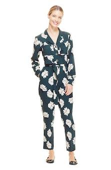 <ul><li>Floral crepe tie waist jumpsuit</li><li>Straight, slim fit with belt at waist</li><li>Concealed zipper and button fastenings at front</li><li>Polyester/Elastane</li><li>Machine wash cold, dry flat</li><li>Made in USA</li></ul>