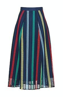 <ul><li>Striped lace skirt with grosgrain waistband</li><li>Full silhouette, designed to be worn at the waist</li><li>Concealed zip fastening at side</li><li>100% Polyester; Lined</li><li>Dry clean</li><li>Made in USA</li></ul>