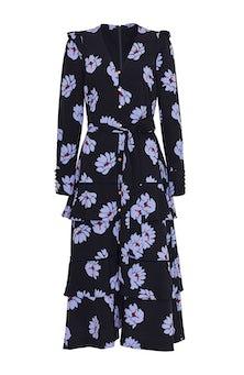 <ul><li>Floral crepe tiered, ruffle skirt, midi dress</li><li>Designed for a loose fit with belt at waist</li><li>Concealed zip fastening at center back</li><li>Polyester/Elastane</li><li>Machine wash cold, dry flat</li><li>Made in USA</li></ul>