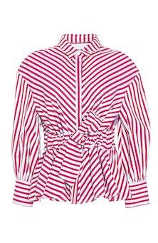 <ul><li>Striped poplin full sleeve top with self belt</li><li>Designed to be fitted at waist</li><li>Concealed button fastenings at front</li><li>100% Cotton</li><li>Dry clean</li><li>Made in USA</li></ul>