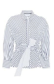 <ul><li>Striped poplin full sleeve top with self belt </li><li>Designed to be fitted at waist </li><li>Concealed button fastenings at front </li><li>100% Cotton </li><li>Dry clean</li><li> Made in USA</li></ul>