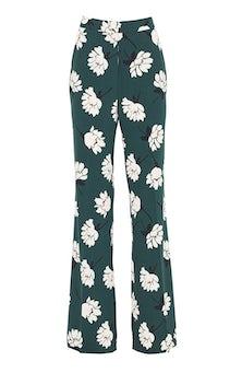 <ul><li>Floral crepe high waisted wide leg Ruthie pant</li><li>Concealed hook, button, and zip fastening at front</li><li>Polyester/Elastane</li><li>Machine wash cold, dry flat</li><li>Made in USA</li></ul>