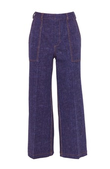 <ul><li>Stretch denim cropped, wide leg Ellie pant </li><li>High-rise, concealed hook, button, and zip fastening at front</li><li>  Cotton/Elastane</li><li>Machine wash cold, dry flat</li><li> Made in USA</li></ul>