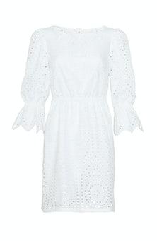 <ul><li>Medallion eyelet square neck dress with cinched waist</li><li>Designed to be fitted at waist</li><li>Concealed zip fastening at center back</li><li>100% Cotton; Lined</li><li>Dry clean</li><li>Made in USA</li></ul>