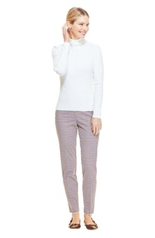 <ul><li>Checked wool slim, straight Susie pant</li><li>High-rise, flat front with concealed zip fastening at center back</li><li>Wool/Elastane</li><li>Dry clean</li><li>Made in USA</li></ul>