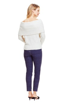 <ul><li>Off the shoulder knit sweater with ribbed cuff</li><li>Designed for a relaxed fit</li><li>Pullover</li><li>Wool/Nylon/Elastane</li><li>Dry clean</li><li>Imported</li></ul>