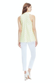 <ul><li>Striped seersucker button front halter top</li><li>Button fastenings at front</li><li>50% Cotton, 50% Polyester</li><li>Dry clean</li><li>Made in USA</li></ul>