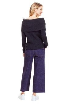 <ul><li>Off the shoulder knit sweater with ribbed cuff</li><li>Designed for a relaxed fit</li><li>Pullover</li><li>Wool/Nylon/Elastane</li><li>Dry clean</li><li>Imported</li></ul>
