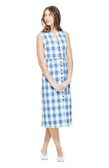 <ul><li>Sleeveless gingham dress</li><li>Button closure neckline</li><li>76% Cotton 24% Polyester, Lining - 100% Polyester</li><li>Dry Clean Only</li></ul>