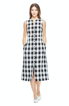 <ul><li>Sleeveless gingham dress</li><li>Button closure neckline</li><li>76% Cotton 24% Polyester, Lining - 100% Polyester</li><li>Dry Clean Only</li></ul>
