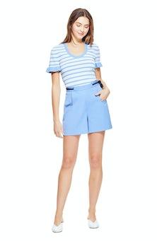 <ul><li>Short sleeve stripe knit top</li><li>63% Viscose 37% Nylon</li><li>Dry Clean Only</li></ul>