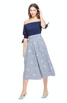 <ul><li>Gingham print with floral embroidered detail full skirt</li><li>100% Cotton, Lining - 100% Cotton</li><li>Dry Clean Only</li></ul>