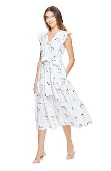 <ul><li>Cap sleeve gingham printed dress with floral embroidered detail</li><li>Tiered dress with tie at natural waist</li><li>100% Cotton</li><li>Dry Clean Only</li></ul>
