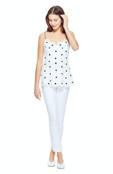 <ul><li>Sleeveless floral lace blouse</li><li>Scallop trim</li><li>100% Polyester</li><li>Dry clean Only</li></ul>