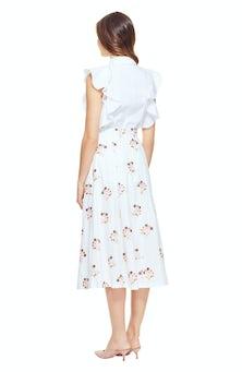 <ul><li>Cap sleeve cotton blouse</li><li>Flutter sleeves with eyelet detail</li><li>Spread collar with button front closure</li><li>97% Cotton 3% Elastane</li><li>Dry Clean Only</li></ul>