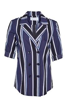 <ul><li>Short sleeve stripe blouse</li><li>Spread collar with exposed button front closure</li><li>88% Viscose 12% Polyester</li><li>Dry Clean Only</li></ul>