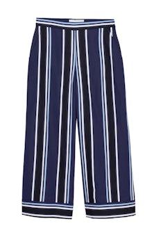 <ul><li>Printed stripe wide leg cropped pant</li><li>88% Viscose 12% Polyester</li><li>Dry Clean Only</li></ul>