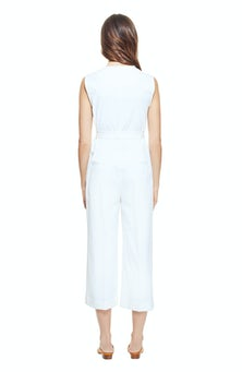 <ul><li>Sleeveless cotton jumpsuit with tie at natural waist</li><li>53% Cotton 41% Viscose 6% Elastane, Lining - 100% Polyester</li><li>Dry Clean Only</li></ul>