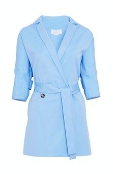 <ul><li>Half sleeve cotton wrap jacket</li><li>Spread collar with removable wrap tie closure</li><li>53% Cotton 41% Viscose 6% Elastane, Lining - 100% Polyester</li><li>Dry Clean Only</li></ul>