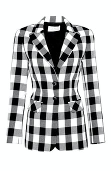 <ul><li>Long sleeve gingham blazer</li><li>Spread collar with button front closure</li><li>76% Cotton 24% Polyester, Lining - 100% Polyester</li><li>Dry Clean Only</li></ul>