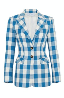 <ul><li>Long sleeve gingham blazer</li><li>Spread collar with button front closure</li><li>76% Cotton 24% Polyester, Lining - 100% Polyester</li><li>Dry Clean Only</li></ul>