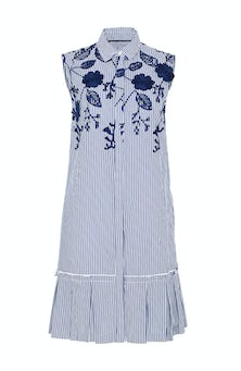 <ul><li>Sleeveless dress with floral embroidered detail</li><li>Spread collar with button front neckline</li><li>100% Cotton</li><li>Dry clean Only</li></ul>