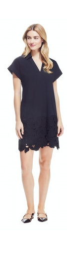 Cotton Poplin Lace Detail Tunic Dress